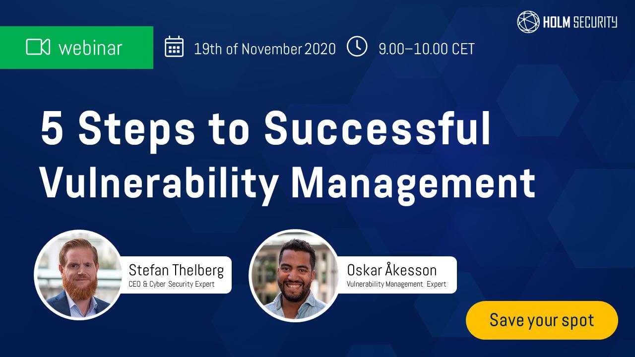 |WEBINAR| Holm Security: in 5 stappen naar een succesvol Vulnerability Management (19 november)